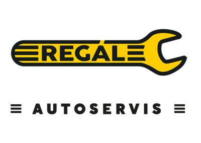 Autoservis Regál, oba motivy se vždy používají společně, ale zároveň zvlášť, například žlutý klíč je na střeše servisu a nápis autoservis je na fasádě nad vraty