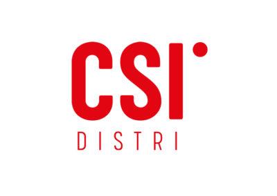 Logo pro firmu CSI˙ DISTRI, která dodává zboží do celého světa.